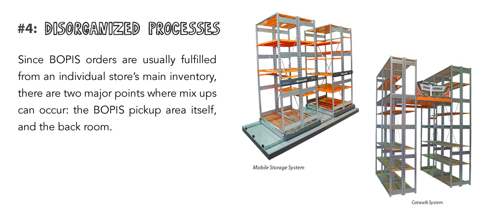 Since BOPIS orders are usually fulfilled from an individual store's main inventory, there are two major points where mix ups can occur: the BOPIS pickup area itself, and the back room.