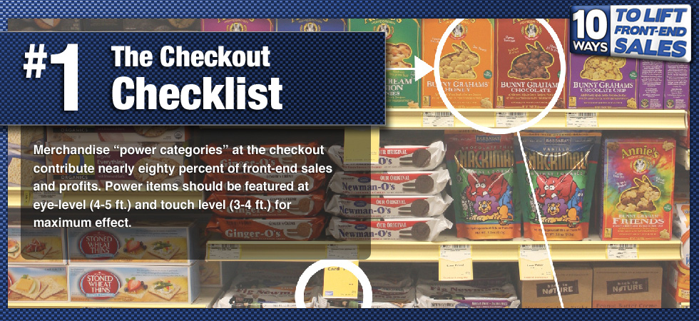 Merchandise 'power categories' at the checkout contribute nearly eighty percent of front-end sales and profits. Power items should be featured at eye-level (4-5 ft.) and touch level (3-4 ft.) for maximum effect.