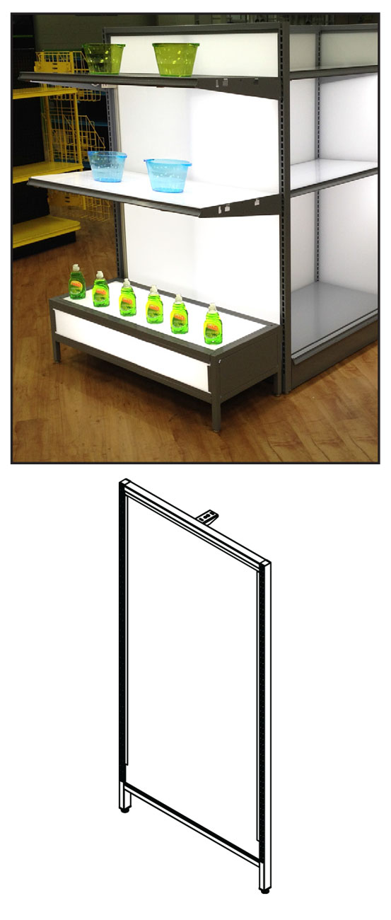 UFDPUSEF(NW)(NH)(OPT)-Vesta™ Fixture Divider Panel Upright Slotted End Frame