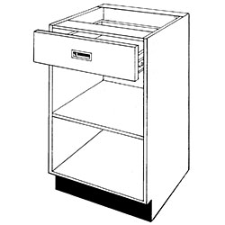 Pharmacy Wood Open Unit with Drawer and One Shelf