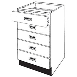 Pharmacy Wood Five Drawer Unit